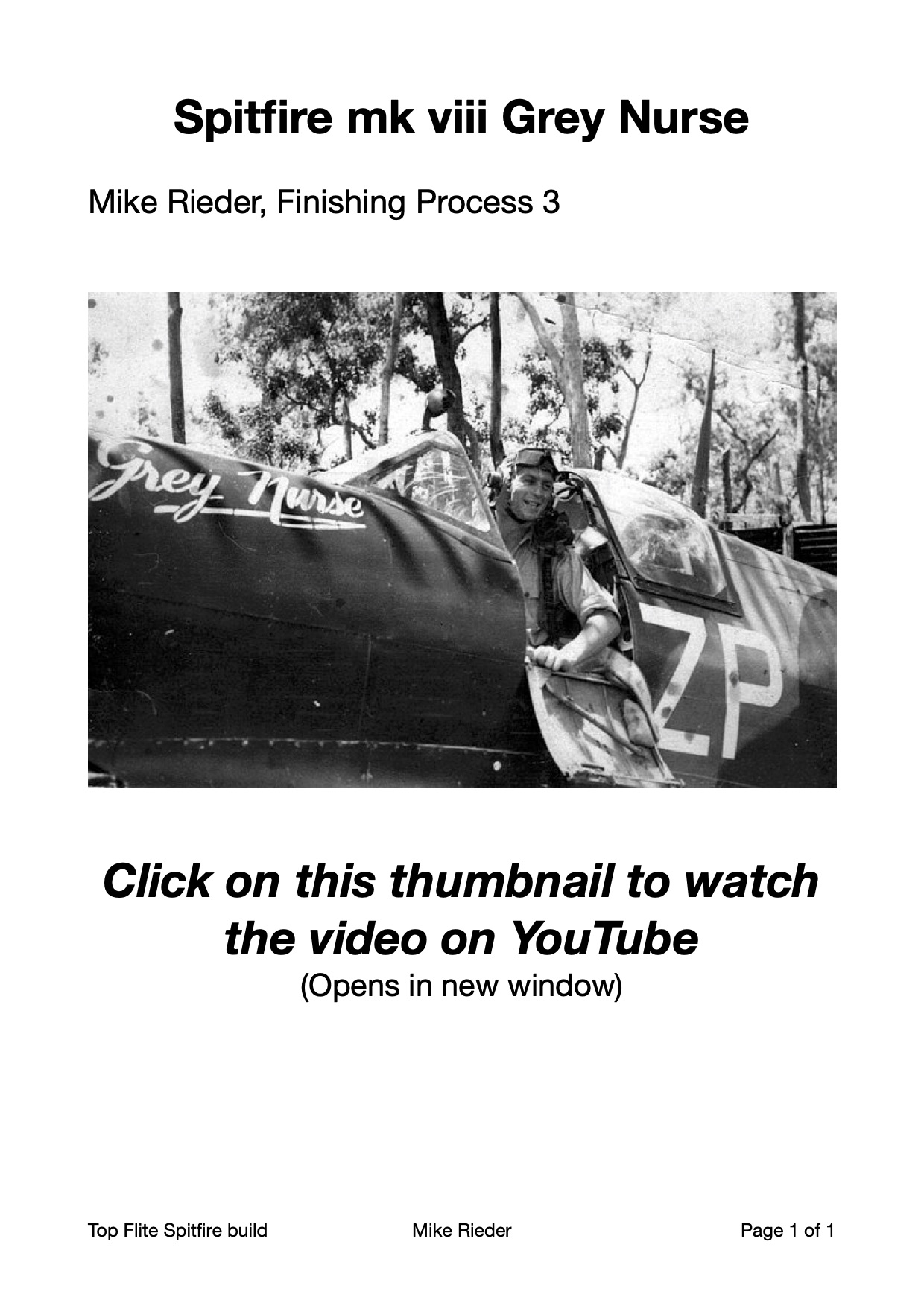 Mike Rieder Spitfire, thumbnail to link to finishing video on YouTube, Part 2 Painting & Weathering