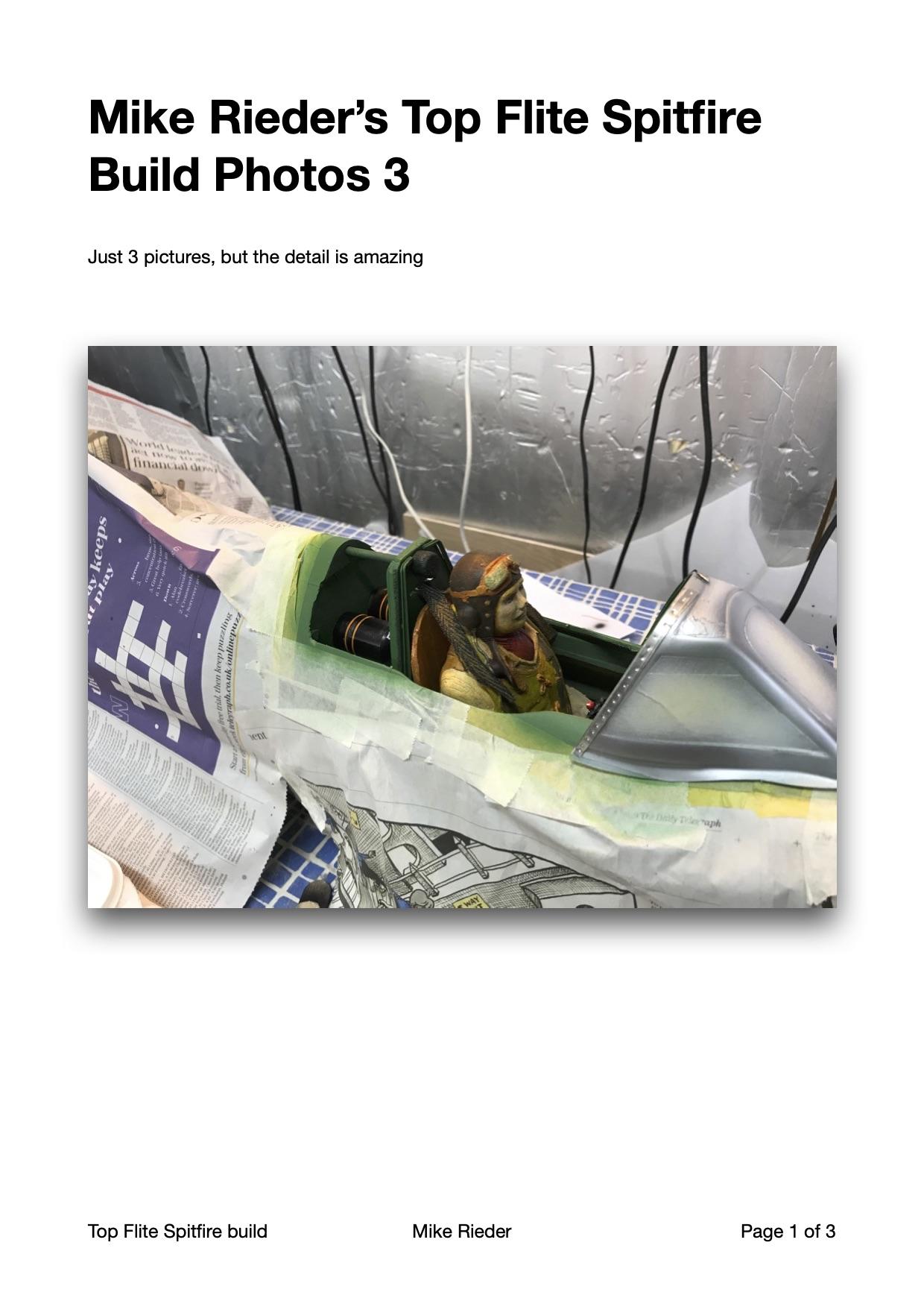 Mike Rieder Spitfire Pilot & Wing Detailing