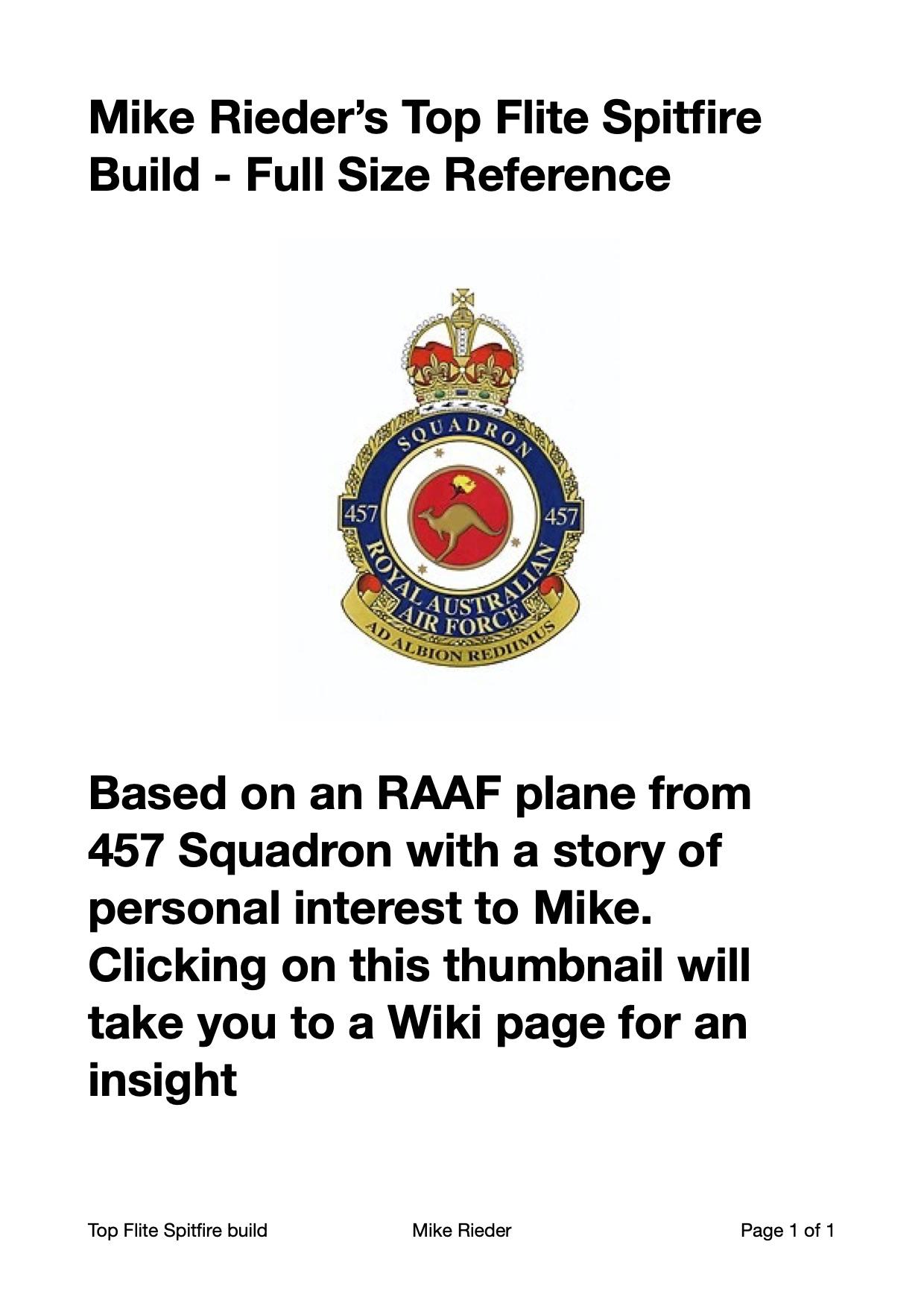 Mike Rieder Spitfire 457 Squadron RAAF insignia