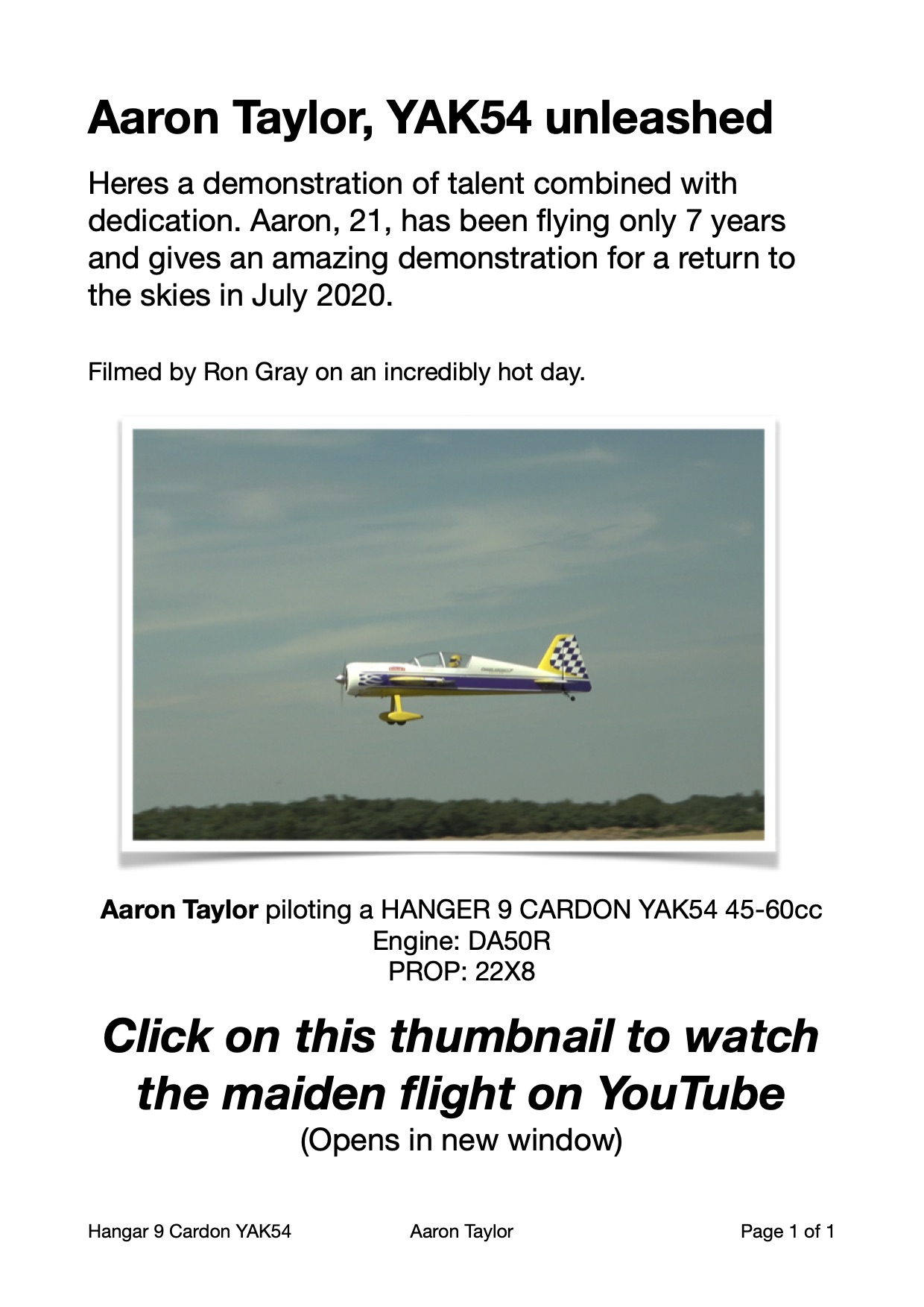 Aaron Taylor flying his Hangar 9 Cardon YAK54, on YouTube