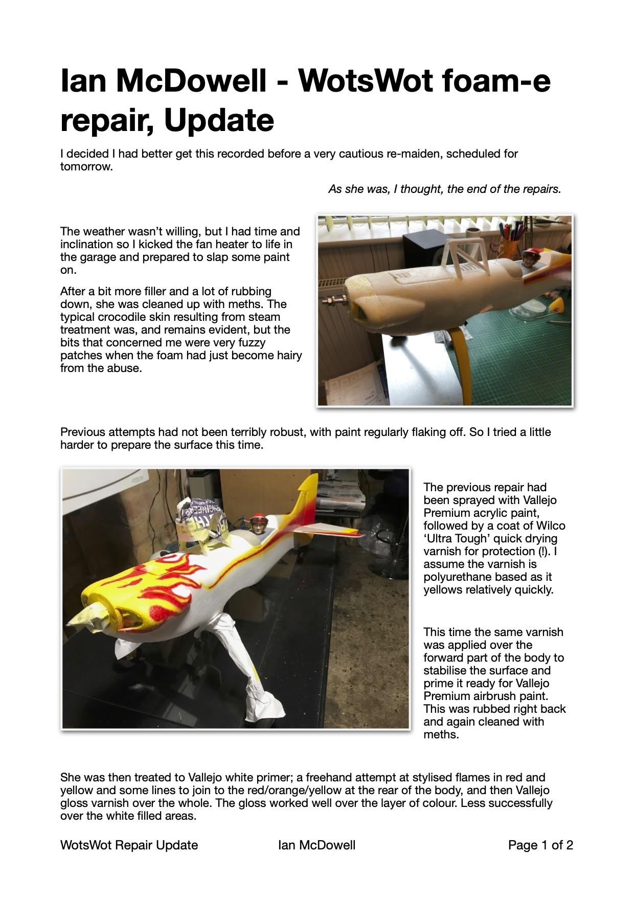 Ian McDowell - WotsWot foam-e repair, update
